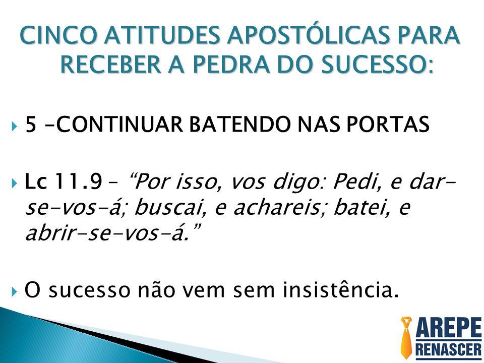 """CINCO ATITUDES APOSTÓLICAS PARA RECEBER A PEDRA DO SUCESSO:  5 –CONTINUAR BATENDO NAS PORTAS  Lc 11.9 – """"Por isso, vos digo: Pedi, e dar- se-vos-á;"""