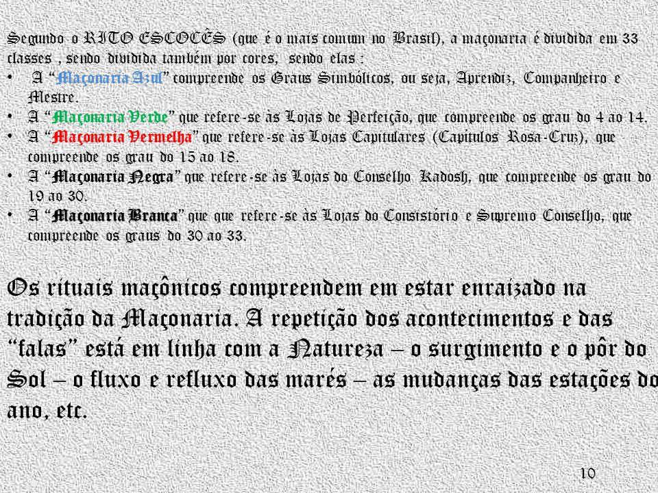 """Segundo o RITO ESCOCÊS (que é o mais comum no Brasil), a maçonaria é dividida em 33 classes, sendo dividida também por cores, sendo elas : • A """"Maçona"""