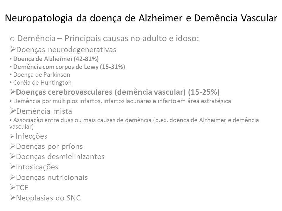Neuropatologia da doença de Alzheimer e Demência Vascular Demências – prevalência: o 65 anos – 1,5% o 67-74 anos – 4,1% o 75-84 anos – 18,7% o acima 85 anos – 32-47%