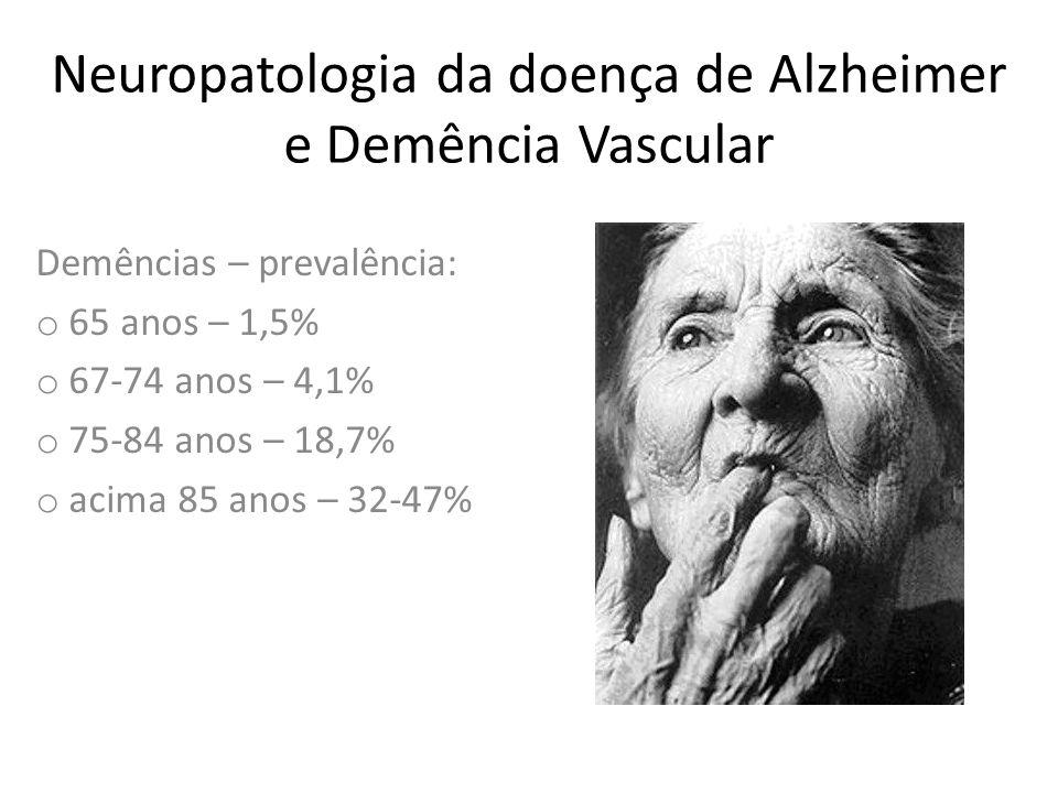 Neuropatologia da doença de Alzheimer e Demência Vascular Demências – prevalência: o 65 anos – 1,5% o 67-74 anos – 4,1% o 75-84 anos – 18,7% o acima 8
