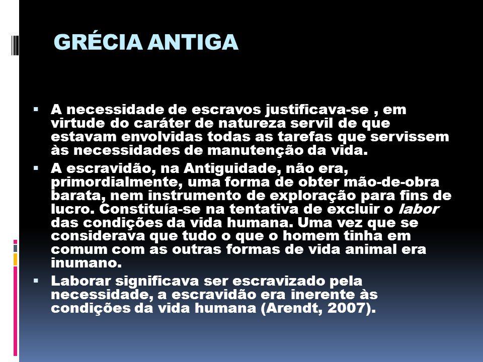 GRÉCIA ANTIGA  A necessidade de escravos justificava-se, em virtude do caráter de natureza servil de que estavam envolvidas todas as tarefas que serv