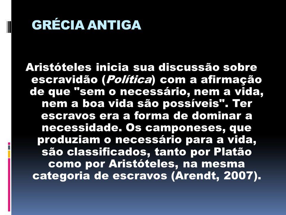GRÉCIA ANTIGA Aristóteles inicia sua discussão sobre escravidão (Política) com a afirmação de que
