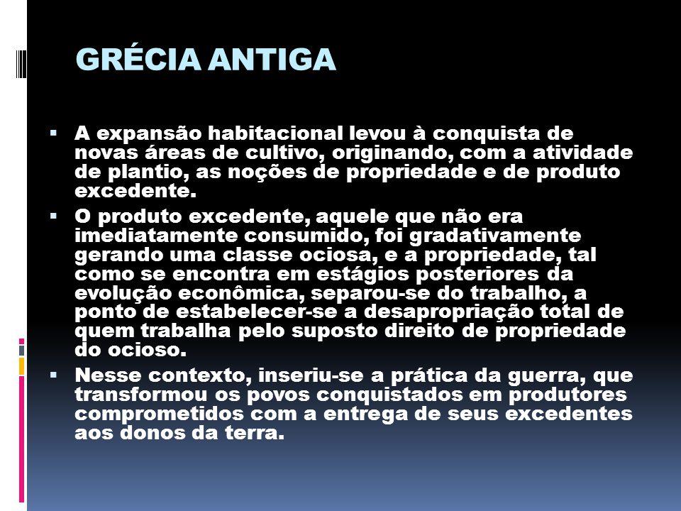 GRÉCIA ANTIGA  A expansão habitacional levou à conquista de novas áreas de cultivo, originando, com a atividade de plantio, as noções de propriedade