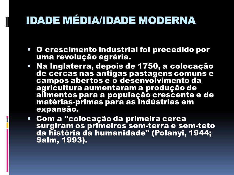 IDADE MÉDIA/IDADE MODERNA  O crescimento industrial foi precedido por uma revolução agrária.  Na Inglaterra, depois de 1750, a colocação de cercas n