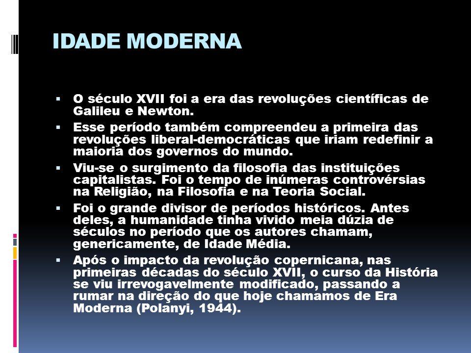 IDADE MODERNA  O século XVII foi a era das revoluções científicas de Galileu e Newton.  Esse período também compreendeu a primeira das revoluções li