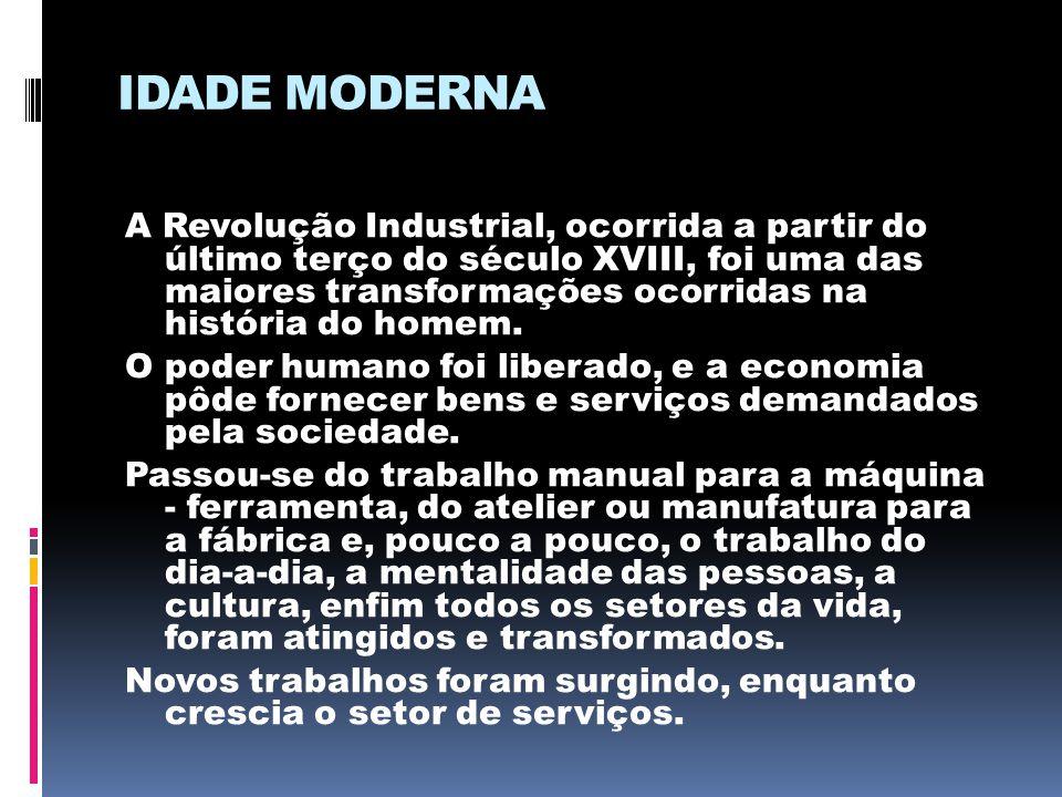 IDADE MODERNA A Revolução Industrial, ocorrida a partir do último terço do século XVIII, foi uma das maiores transformações ocorridas na história do h