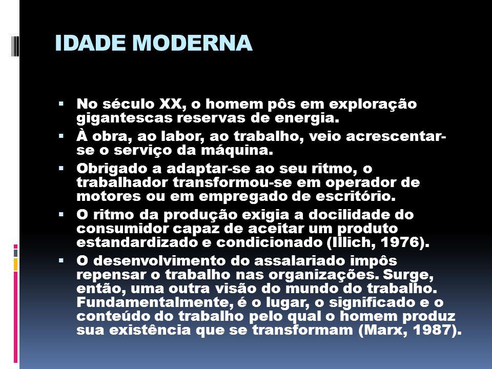 IDADE MODERNA  No século XX, o homem pôs em exploração gigantescas reservas de energia.  À obra, ao labor, ao trabalho, veio acrescentar- se o servi