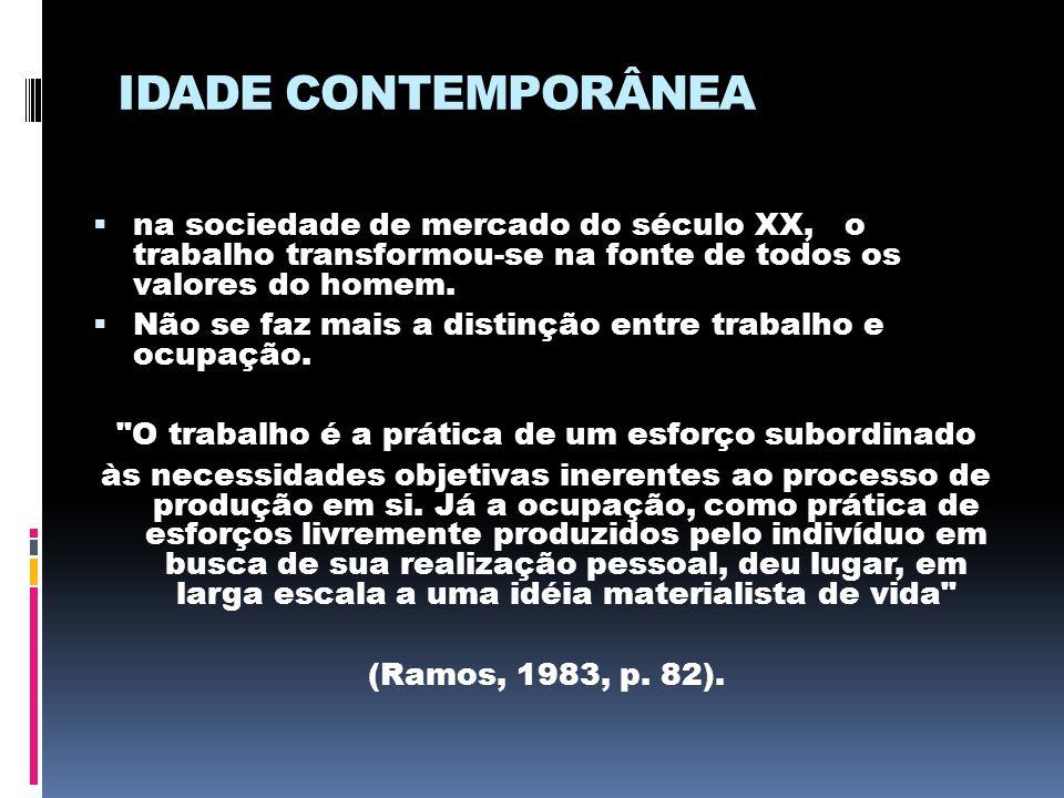 IDADE CONTEMPORÂNEA  na sociedade de mercado do século XX, o trabalho transformou-se na fonte de todos os valores do homem.  Não se faz mais a disti