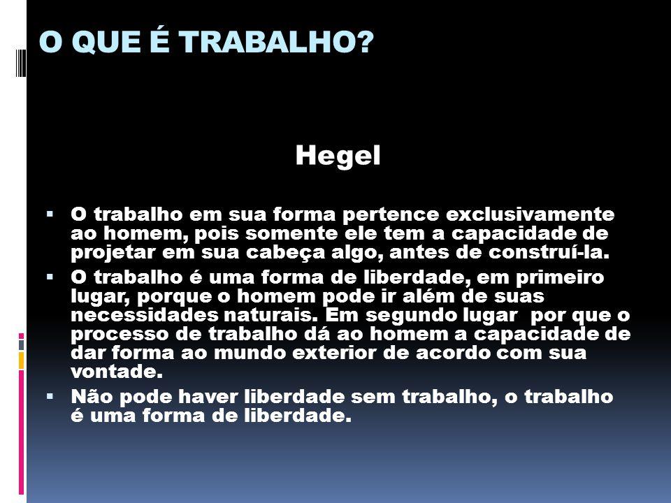 O QUE É TRABALHO? Hegel  O trabalho em sua forma pertence exclusivamente ao homem, pois somente ele tem a capacidade de projetar em sua cabeça algo,
