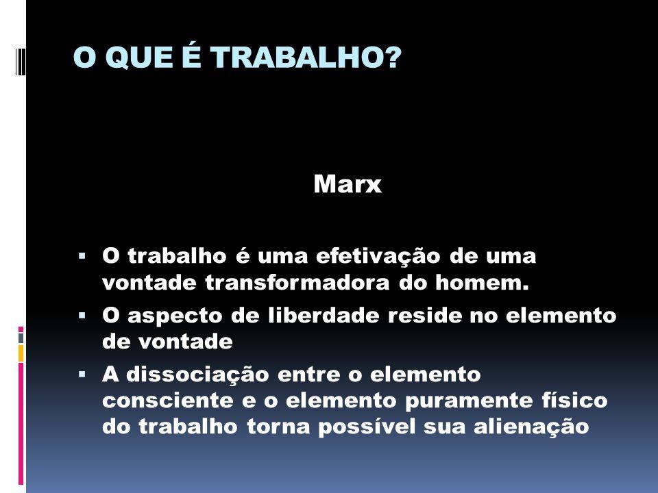 O QUE É TRABALHO? Marx  O trabalho é uma efetivação de uma vontade transformadora do homem.  O aspecto de liberdade reside no elemento de vontade 