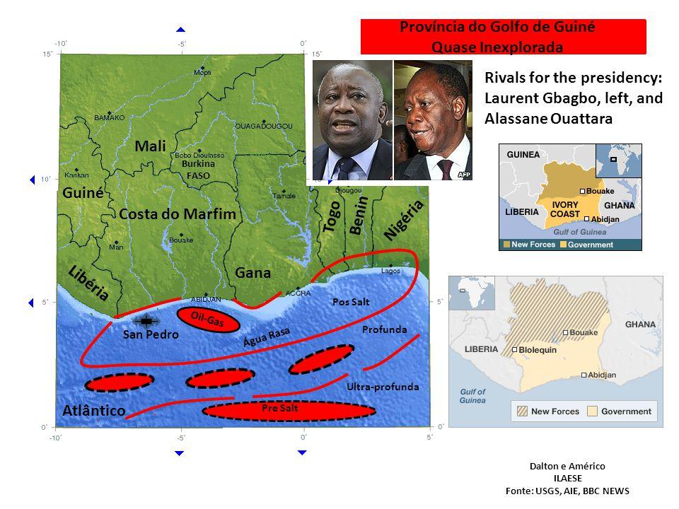 Província do Golfo de Guiné Quase Inexplorada Costa do Marfim Libéria Guiné Gana Mali Togo Burkina FASO Benin Nigéria Rivals for the presidency: Laure