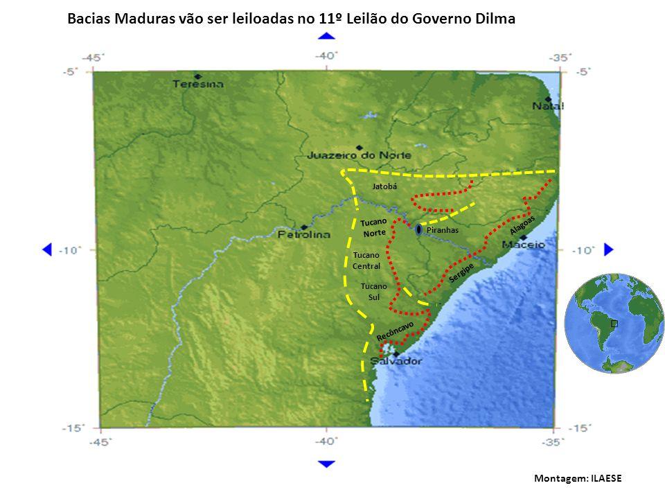 Jatobá Tucano Norte Tucano Central Tucano Sul Recôncavo Piranhas Sergipe Alagoas Bacias Maduras vão ser leiloadas no 11º Leilão do Governo Dilma Monta