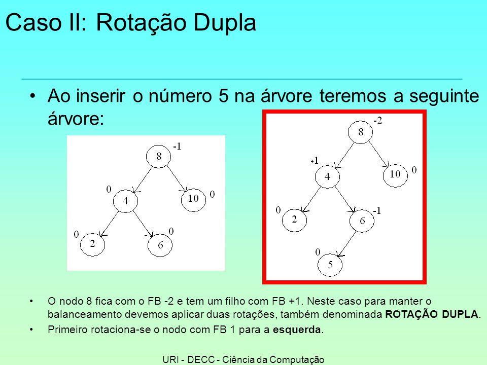 URI - DECC - Ciência da Computação Caso II: Rotação Dupla •Ao inserir o número 5 na árvore teremos a seguinte árvore: •O nodo 8 fica com o FB -2 e tem um filho com FB +1.
