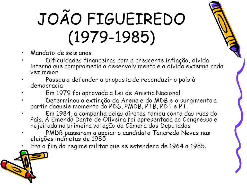 JOÃO FIGUEIREDO (1979-1985) •Mandato de seis anos •Dificuldades financeiras com a crescente inflação, dívida interna que comprometia o desenvolvimento