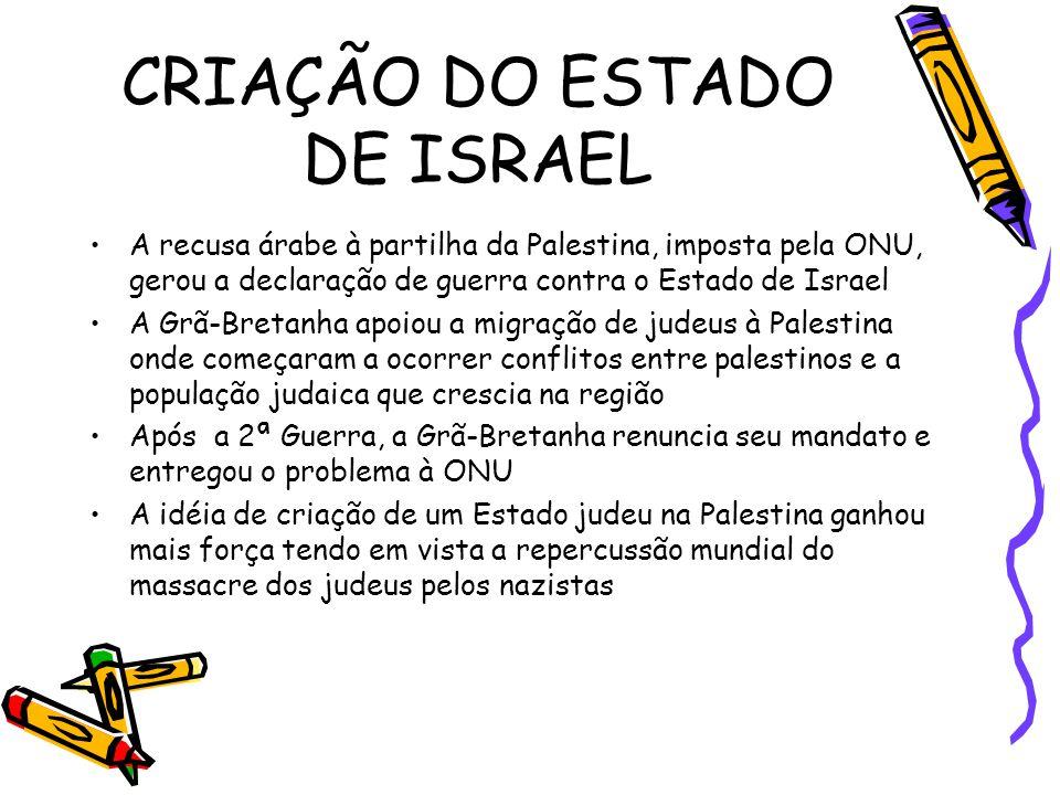 CRIAÇÃO DO ESTADO DE ISRAEL •A recusa árabe à partilha da Palestina, imposta pela ONU, gerou a declaração de guerra contra o Estado de Israel •A Grã-B