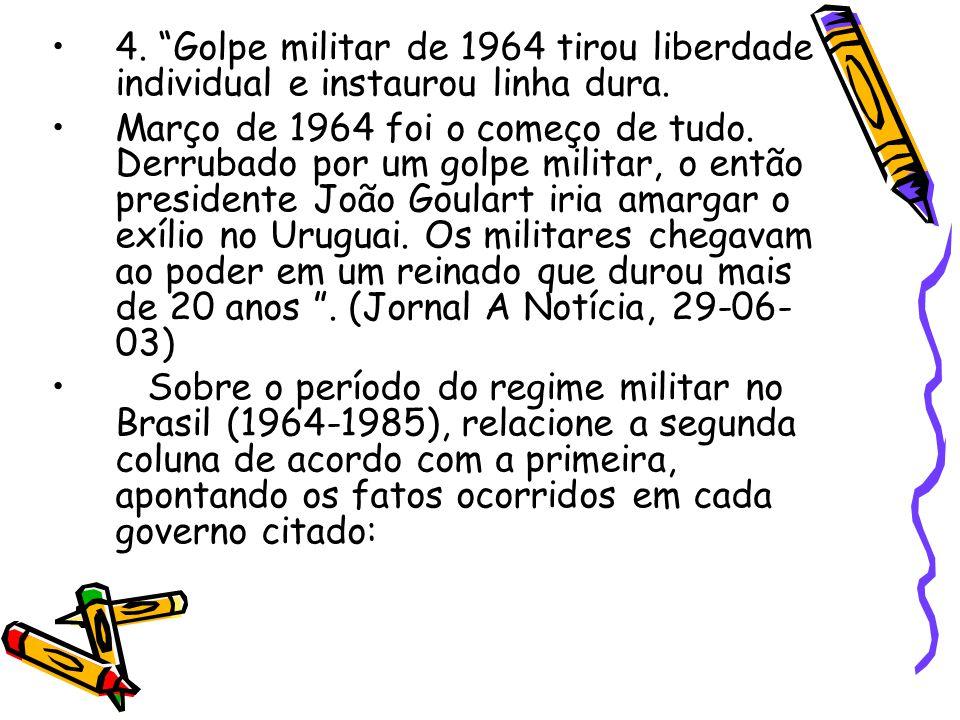 """•4. """"Golpe militar de 1964 tirou liberdade individual e instaurou linha dura. •Março de 1964 foi o começo de tudo. Derrubado por um golpe militar, o e"""