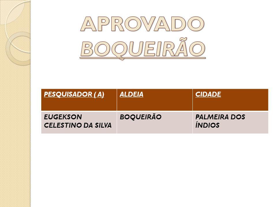PESQUISADOR ( A)ALDEIACIDADE EUGEKSON CELESTINO DA SILVA BOQUEIRÃOPALMEIRA DOS ÍNDIOS