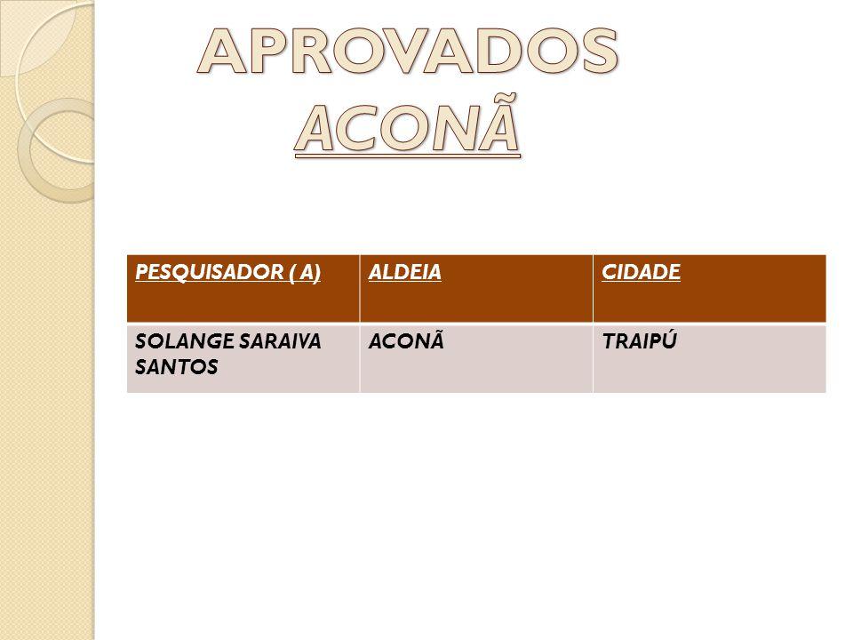 PESQUISADOR ( A)ALDEIACIDADE SOLANGE SARAIVA SANTOS ACONÃTRAIPÚ