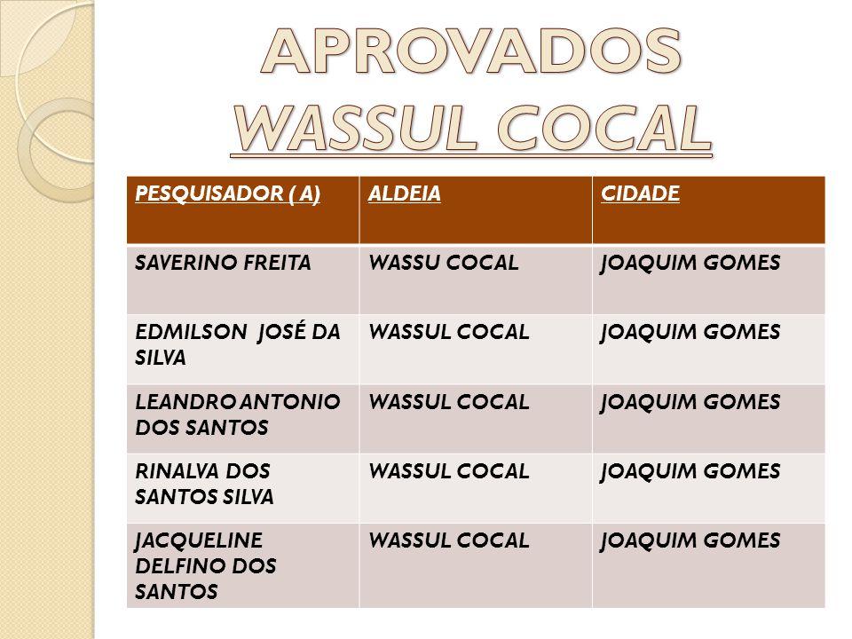 PESQUISADOR ( A)ALDEIACIDADE SAVERINO FREITAWASSU COCALJOAQUIM GOMES EDMILSON JOSÉ DA SILVA WASSUL COCALJOAQUIM GOMES LEANDRO ANTONIO DOS SANTOS WASSU