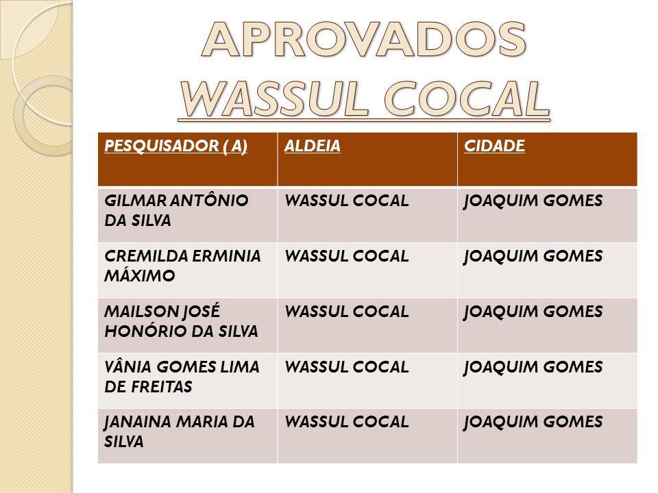 PESQUISADOR ( A)ALDEIACIDADE GILMAR ANTÔNIO DA SILVA WASSUL COCALJOAQUIM GOMES CREMILDA ERMINIA MÁXIMO WASSUL COCALJOAQUIM GOMES MAILSON JOSÉ HONÓRIO