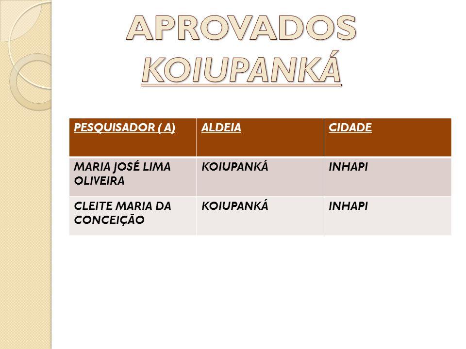 PESQUISADOR ( A)ALDEIACIDADE MARIA JOSÉ LIMA OLIVEIRA KOIUPANKÁINHAPI CLEITE MARIA DA CONCEIÇÃO KOIUPANKÁINHAPI
