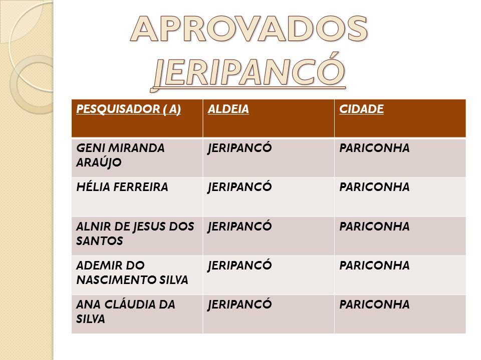 PESQUISADOR ( A)ALDEIACIDADE GENI MIRANDA ARAÚJO JERIPANCÓPARICONHA HÉLIA FERREIRAJERIPANCÓPARICONHA ALNIR DE JESUS DOS SANTOS JERIPANCÓPARICONHA ADEM