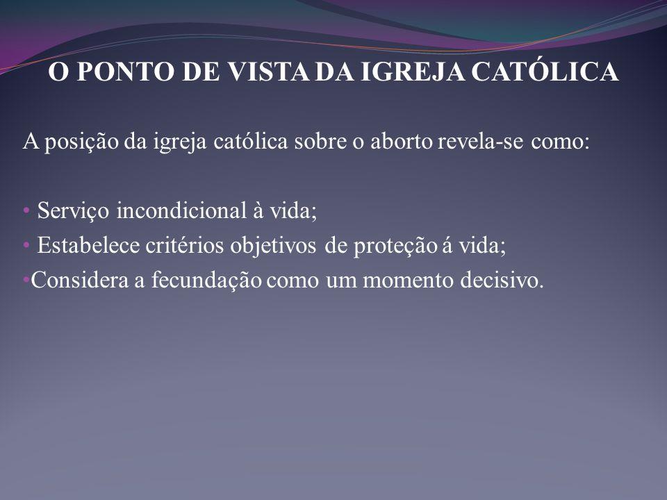 O PONTO DE VISTA DA IGREJA CATÓLICA A posição da igreja católica sobre o aborto revela-se como: • Serviço incondicional à vida; • Estabelece critérios