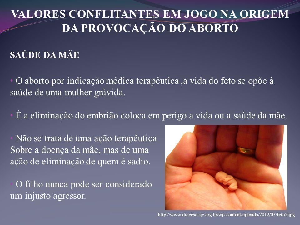 VALORES CONFLITANTES EM JOGO NA ORIGEM DA PROVOCAÇÃO DO ABORTO SAÚDE DA MÃE • O aborto por indicação médica terapêutica,a vida do feto se opõe à saúde