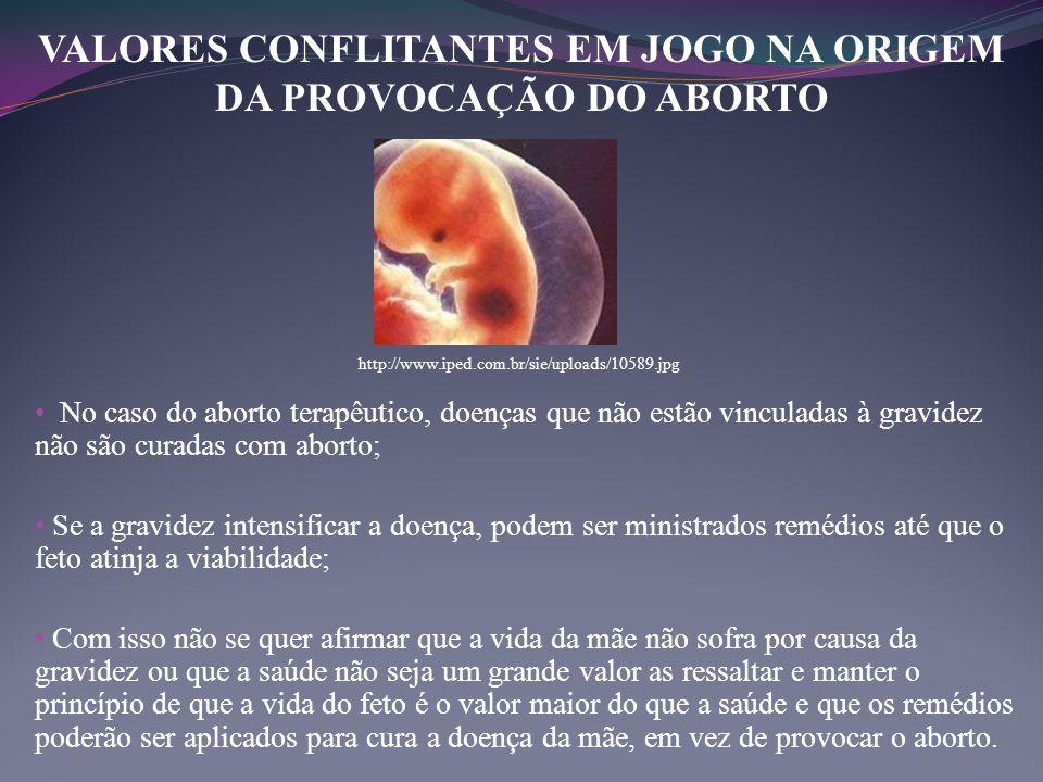 VALORES CONFLITANTES EM JOGO NA ORIGEM DA PROVOCAÇÃO DO ABORTO • No caso do aborto terapêutico, doenças que não estão vinculadas à gravidez não são cu
