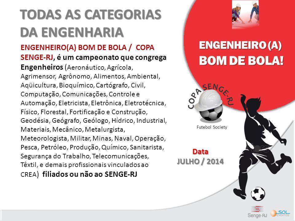 TODAS AS CATEGORIAS DA ENGENHARIA ENGENHEIRO(A) BOM DE BOLA / COPA SENGE-RJ, é um campeonato que congrega Engenheiros ( Aeronáutico, Agrícola, Agrimen