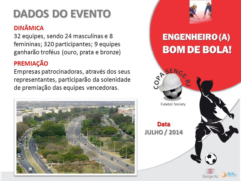 ENGENHEIRO (A) BOM DE BOLA! Futebol Society DADOS DO EVENTO DINÂMICA 32 equipes, sendo 24 masculinas e 8 femininas; 320 participantes; 9 equipes ganha
