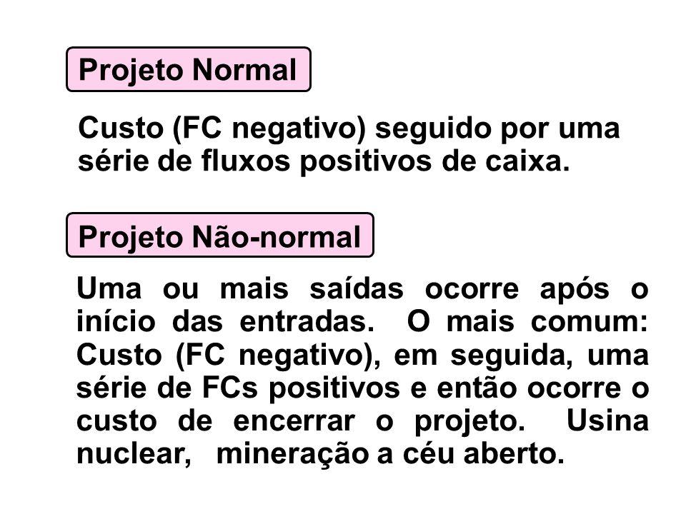Projeto Normal Custo (FC negativo) seguido por uma série de fluxos positivos de caixa. Projeto Não-normal Uma ou mais saídas ocorre após o início das