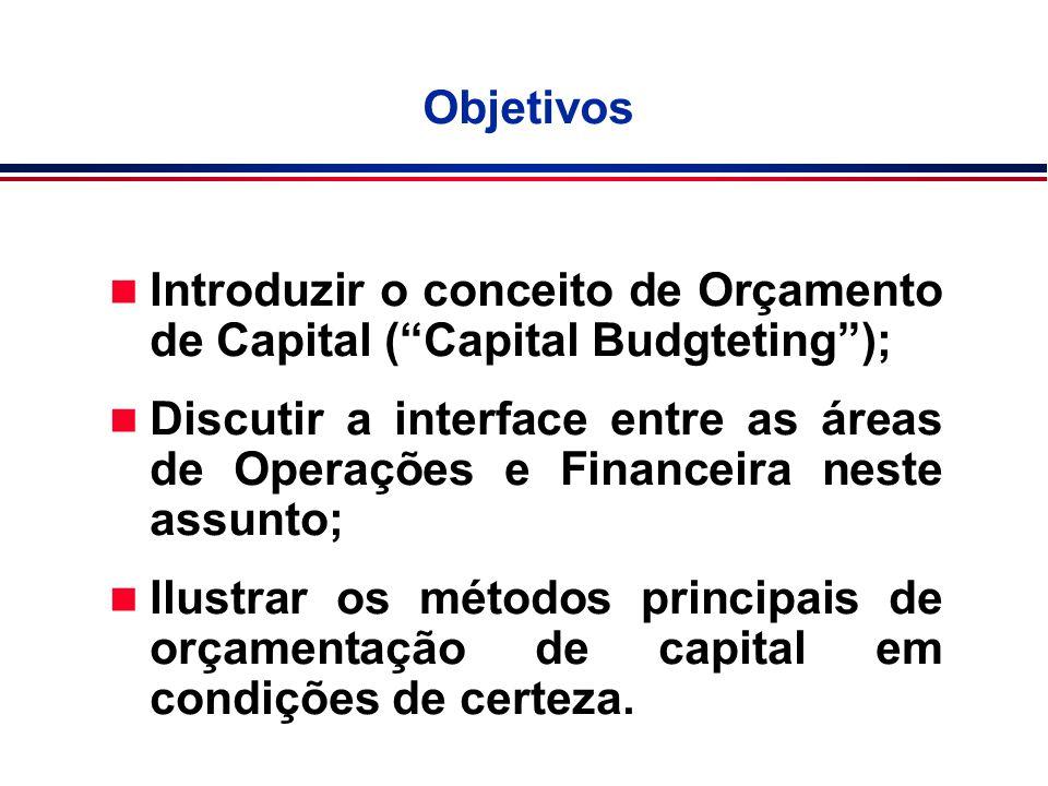 """Objetivos n Introduzir o conceito de Orçamento de Capital (""""Capital Budgteting""""); n Discutir a interface entre as áreas de Operações e Financeira nest"""