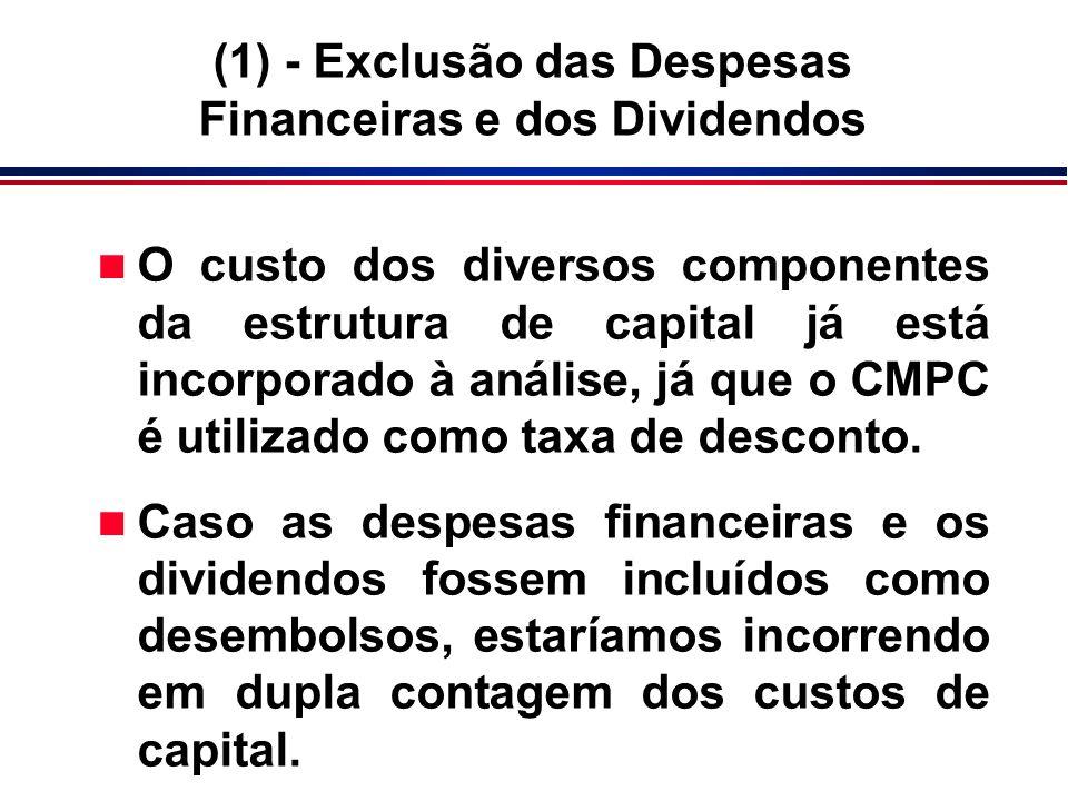 n O custo dos diversos componentes da estrutura de capital já está incorporado à análise, já que o CMPC é utilizado como taxa de desconto. n Caso as d