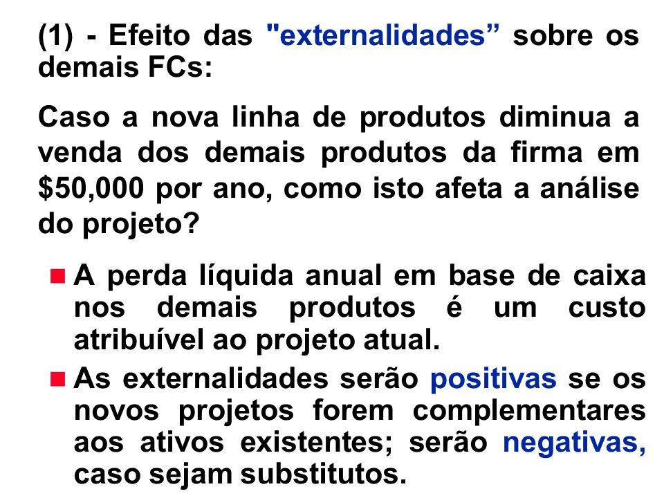 n A perda líquida anual em base de caixa nos demais produtos é um custo atribuível ao projeto atual. n As externalidades serão positivas se os novos p