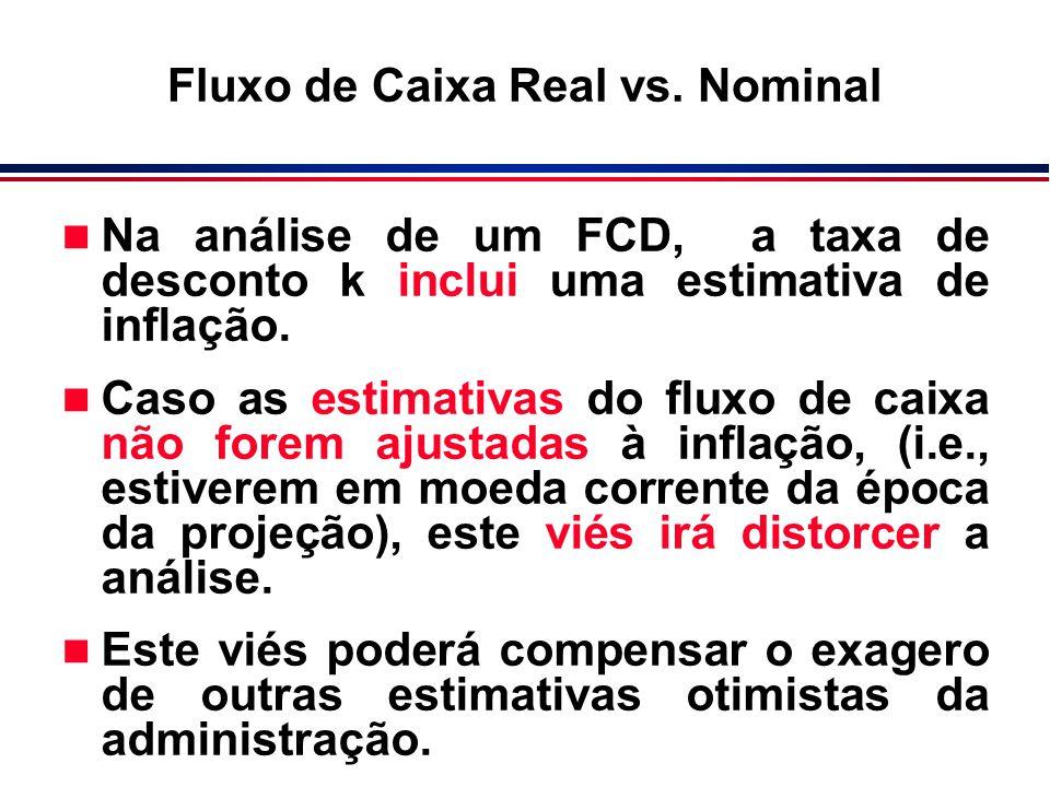 n Na análise de um FCD, a taxa de desconto k inclui uma estimativa de inflação. n Caso as estimativas do fluxo de caixa não forem ajustadas à inflação