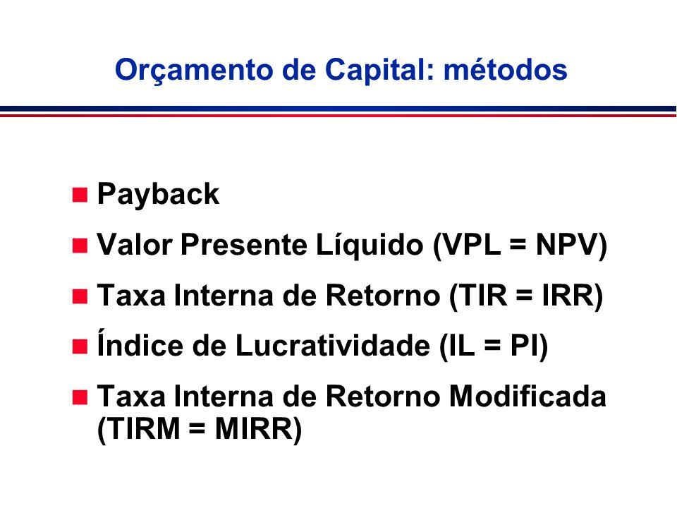 Orçamento de Capital: métodos n Payback n Valor Presente Líquido (VPL = NPV) n Taxa Interna de Retorno (TIR = IRR) n Índice de Lucratividade (IL = PI)