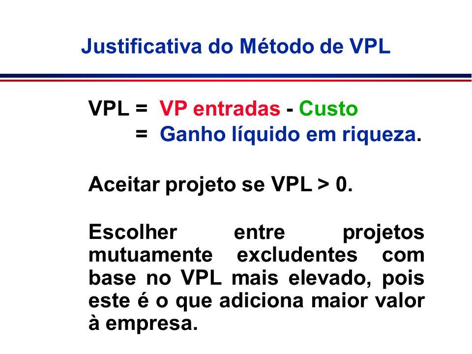 VPL= VP entradas - Custo = Ganho líquido em riqueza. Aceitar projeto se VPL > 0. Escolher entre projetos mutuamente excludentes com base no VPL mais e