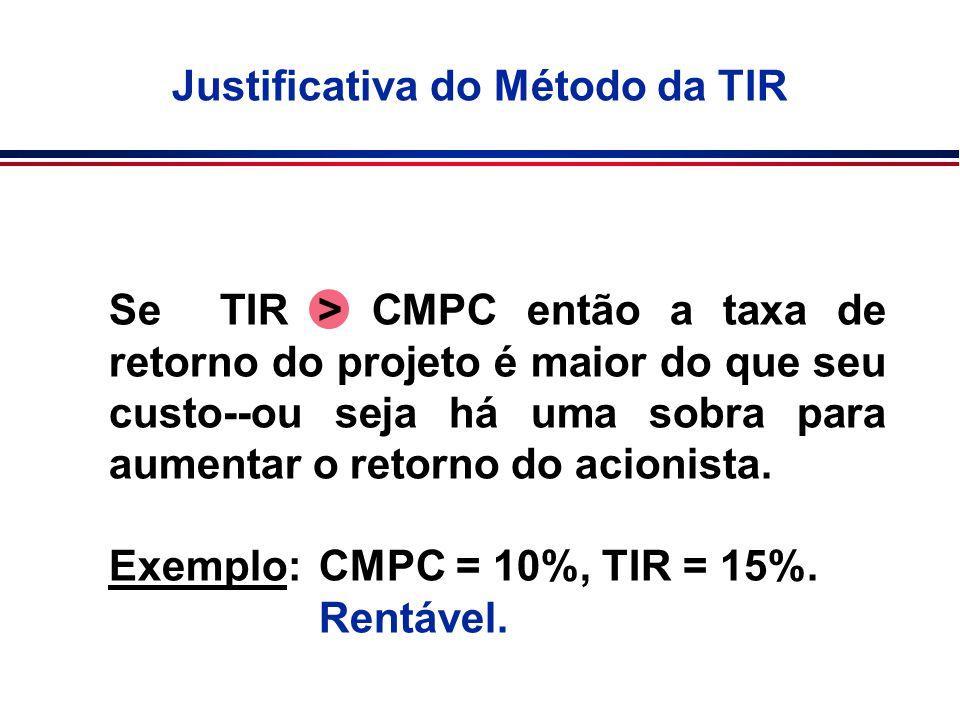 Se TIR > CMPC então a taxa de retorno do projeto é maior do que seu custo--ou seja há uma sobra para aumentar o retorno do acionista. Exemplo:CMPC = 1