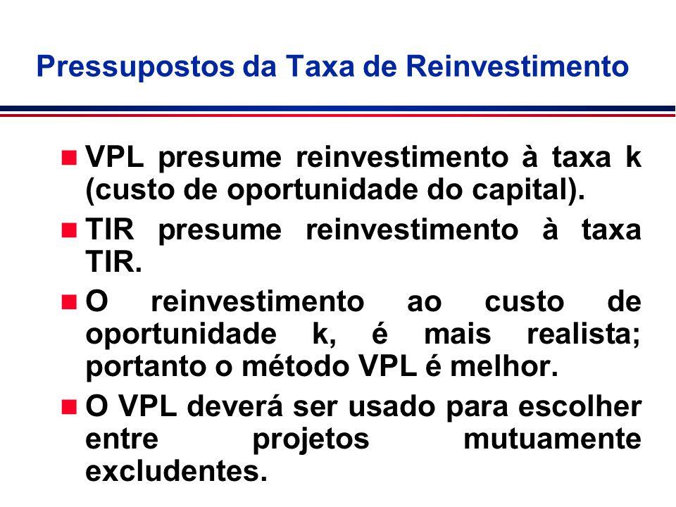 n VPL presume reinvestimento à taxa k (custo de oportunidade do capital). n TIR presume reinvestimento à taxa TIR. n O reinvestimento ao custo de opor