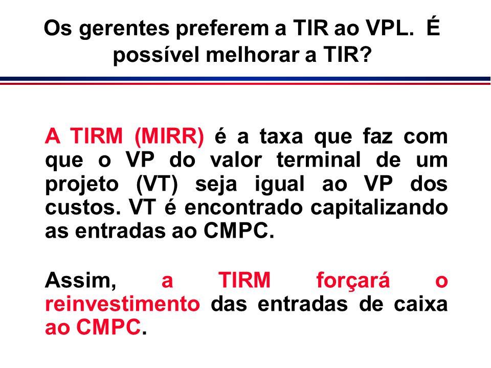 A TIRM (MIRR) é a taxa que faz com que o VP do valor terminal de um projeto (VT) seja igual ao VP dos custos. VT é encontrado capitalizando as entrada