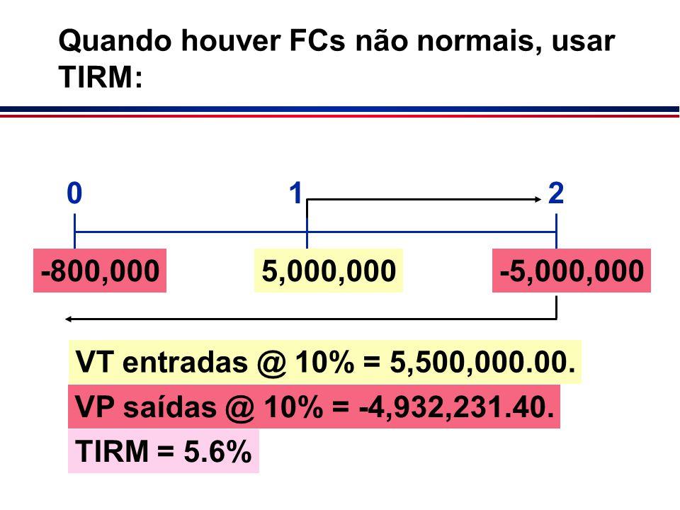 Quando houver FCs não normais, usar TIRM: VT entradas @ 10% = 5,500,000.00. 012 -800,0005,000,000-5,000,000 TIRM = 5.6% VP saídas @ 10% = -4,932,231.4
