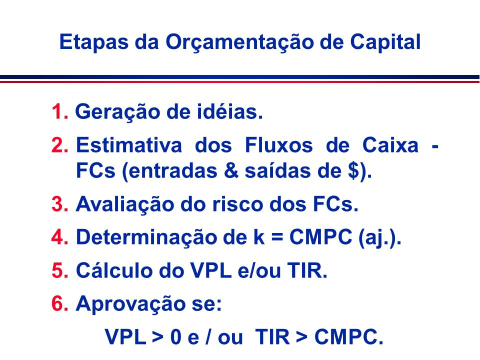 Etapas da Orçamentação de Capital 1. Geração de idéias. 2.Estimativa dos Fluxos de Caixa - FCs (entradas & saídas de $). 3.Avaliação do risco dos FCs.