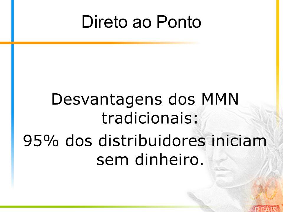 Direto ao Ponto Desvantagens dos MMN tradicionais: 95% dos distribuidores iniciam sem dinheiro.