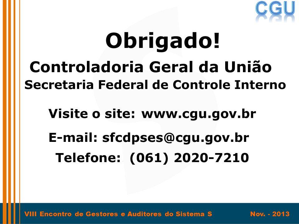 VIII Encontro de Gestores e Auditores do Sistema S Nov. - 2013 Obrigado! Secretaria Federal de Controle Interno Visite o site:www.cgu.gov.br Telefone: