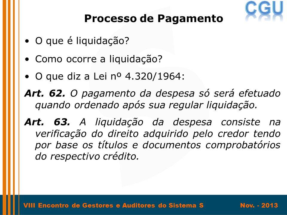 VIII Encontro de Gestores e Auditores do Sistema S Nov. - 2013 •O que é liquidação? •Como ocorre a liquidação? •O que diz a Lei nº 4.320/1964: Art. 62