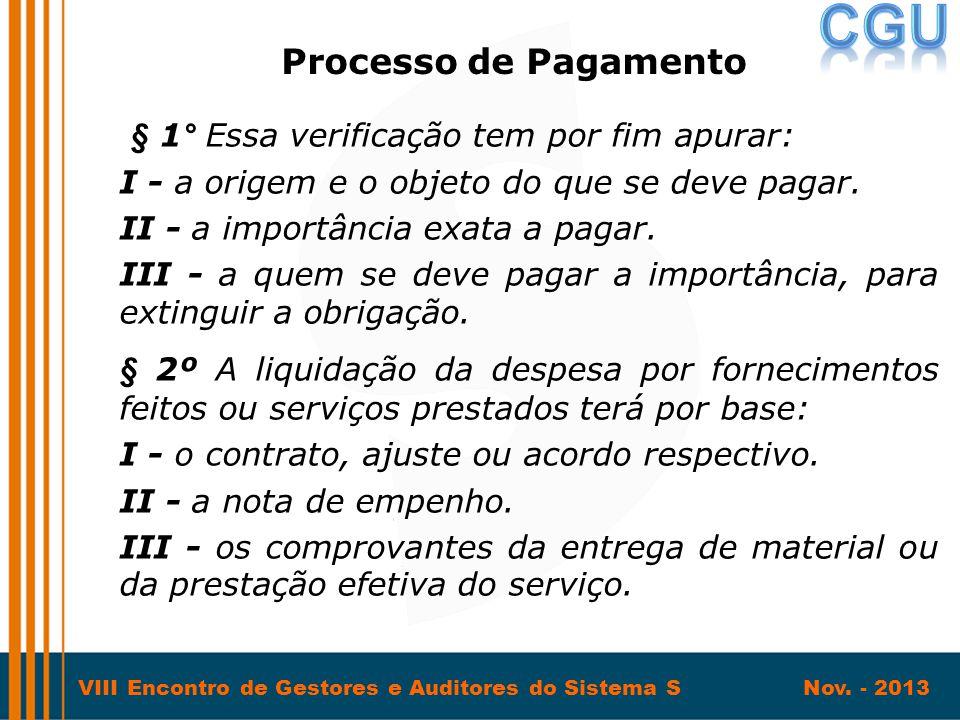 VIII Encontro de Gestores e Auditores do Sistema S Nov. - 2013 § 1° Essa verificação tem por fim apurar: I - a origem e o objeto do que se deve pagar.