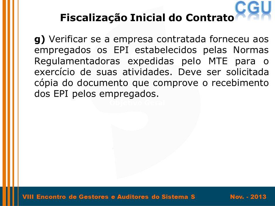 VIII Encontro de Gestores e Auditores do Sistema S Nov. - 2013 g) Verificar se a empresa contratada forneceu aos empregados os EPI estabelecidos pelas