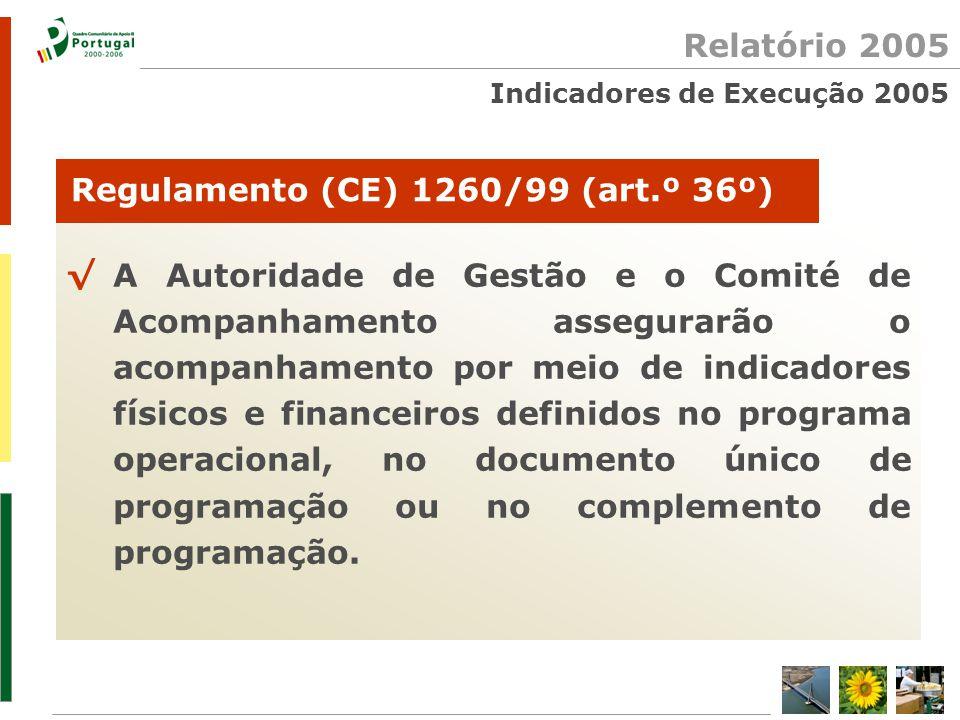 Relatório 2005 Indicadores de Execução 2005 √A Autoridade de Gestão e o Comité de Acompanhamento assegurarão o acompanhamento por meio de indicadores