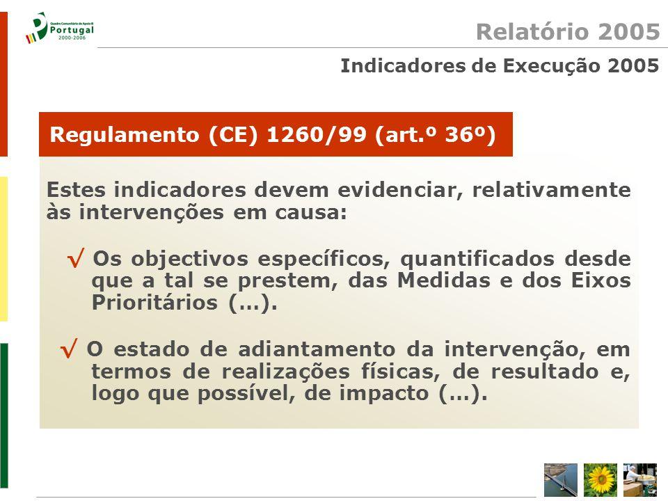 Indicadores de Execução 2005 Estes indicadores devem evidenciar, relativamente às intervenções em causa: √ Os objectivos específicos, quantificados desde que a tal se prestem, das Medidas e dos Eixos Prioritários (…).